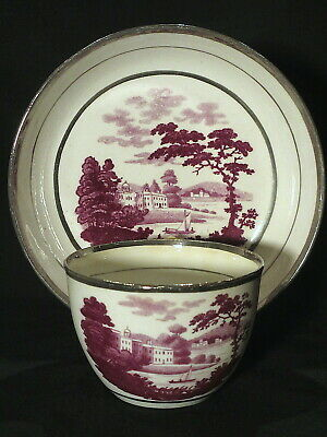 $25 • Buy Scenic Silver Luster Cup And Saucer Circa 1820