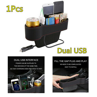 $21.87 • Buy Car Seat Catch Box Crevice Organizer Pocket  PU Leather 2 USB Charger Cup Holder