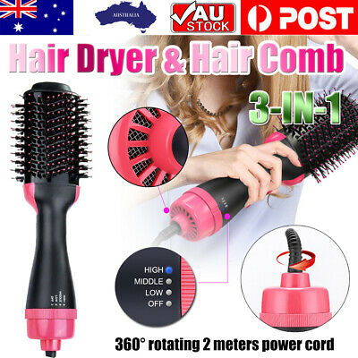 AU26.88 • Buy 3-in-1 Hot Air Style Curler Hair Dryer Styling Roll Hair Brush Comb Hairdryer