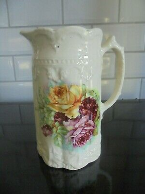 Attractive Embossed Victorian Jug Floral Decoration 7  In Height. No Damage. • 15£