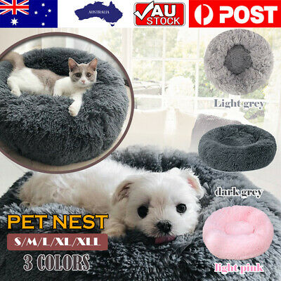 AU34.99 • Buy Pet Dog Cat Calming Bed Warm Soft Plush Round Nest Comfy Sleeping Kennel Cave AU