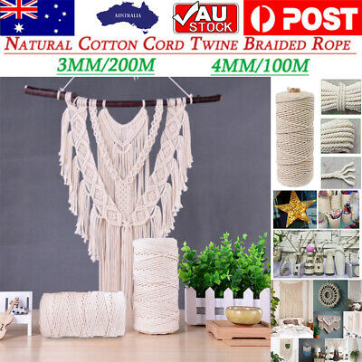 AU13.66 • Buy 3mm 4mmx100m Natural Cotton Cord Twine Braided Rope Cord Hand Craft Macrame AU
