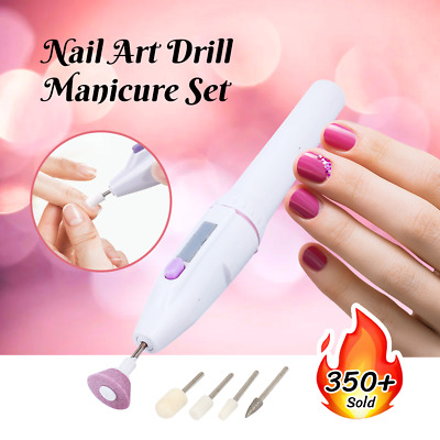 AU6.99 • Buy Nail Art Drill Tips Manicure Set Kit File Grinder Polisher Battery Beauty Tool