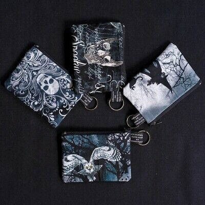 Gothic Coin Purse Cash Money Wallet 100% Cotton Witches Skulls Owl Filigree • 3.99£