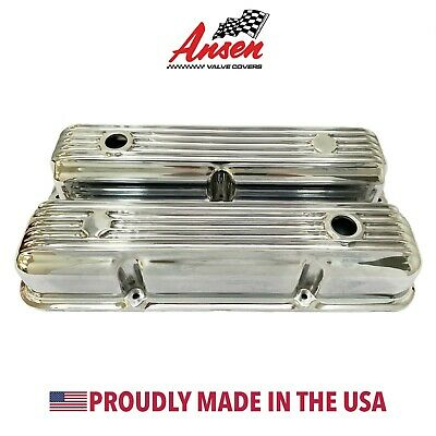 $195 • Buy Ford FE 390, 427, 428 Finned Short Valve Covers - Polished - Ansen USA