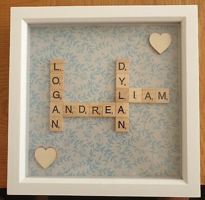 Personalised Family Children Love Birthday Name Scrabble Picture Box Frame • 15.10£