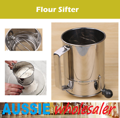 AU19.99 • Buy AU FLOUR SIFTER 5 Cup Crank Handle Stainless Steel Rotary Fine Icing Kitchen