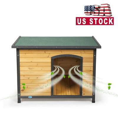 $41 • Buy 43'' Large Slant-Roofed Wood Dog Kennel Weather Resistant Home Outdoor Yellow