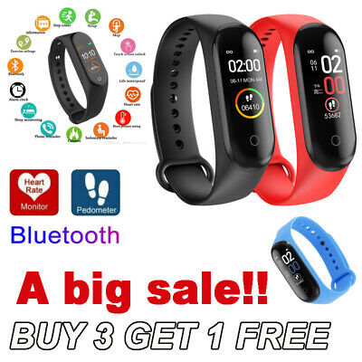 $ CDN8.71 • Buy M4 Smart Watch Band Heart Rate Blood Pressure Monitor Tracker Fitness Wristband@