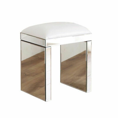 Glass Dressing Table Mirrored Makeup Stool Faux Leather Pad Bedroom Seat Chair • 49£