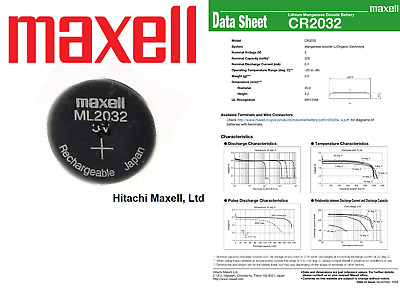 AU1590.99 • Buy Maxell 3V ML2032 Lithium Rechargeable CMOS Battery ML 2032(Loose) / Charger A1