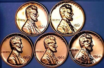 $0.06 • Buy 1960 61 62 63 64 GEM PROOF Lincoln Cent 5 Coin LOT NICE PRF Date Run W/   NR