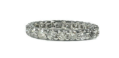 $1100 • Buy 1.90 Ct NATURAL 21 X DIAMOND ETERNITY Band Ring SOLID 14k White GOLD (size 7.25)