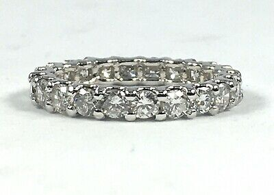 $1200 • Buy 2.53 Ct NATURAL 22 X DIAMOND ETERNITY Band Ring SOLID 14k White GOLD (size 8)