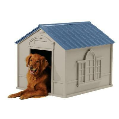 $106.22 • Buy Suncast Indoor & Outdoor Dog House For Medium And Large Breeds, Tan/Blue