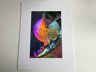 Deserted Spaceship Earth - Epcot At Night - Disney Mounted Photo  Print • 20£