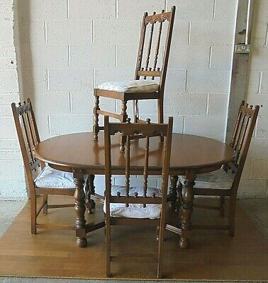 Extending Ercol Dining Table And 4 Ercol Dining Chairs Golden Dawn • 295£