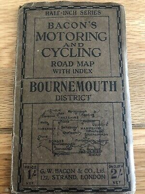 £7 • Buy VINTAGE BACON'S MOTORING AND CYCLING MAP-1/2  SERIES Bournemouth District -Good