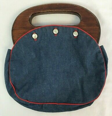 $24.99 • Buy VTG Banner House R W & BLUE Bermuda Bag Wooden Handle Pearl Button Blue Cover
