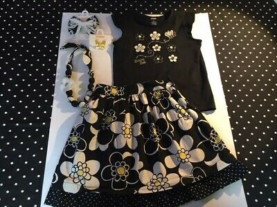 $49.50 • Buy Gymboree Yellow And Black Bee Chic Top Skirt Jewelry Hair 6 7 EUC NWT Set Lot