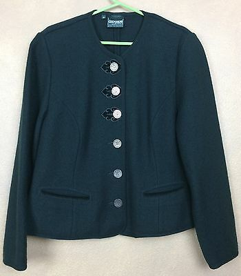 $71.96 • Buy Geiger Collection Jacket 100% Pure New Wool Green Boiled Wool  Size 40 EUR US M