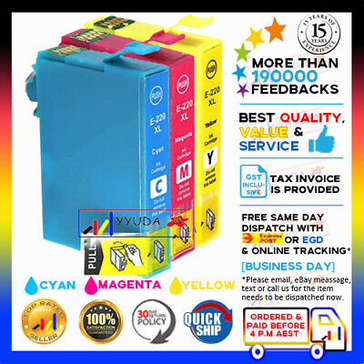 AU12.80 • Buy 3x NoN-OEM 220XL COLOUR ONLY Ink For Epson Workforce WF2630 WF2750 XP320 XP424