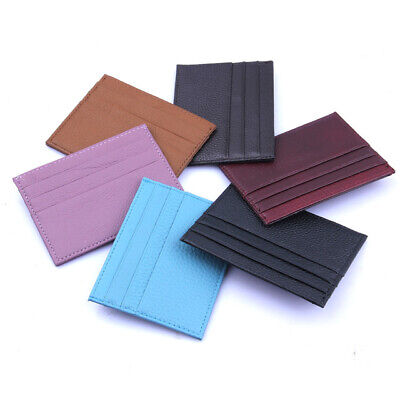 AU5.95 • Buy HOT ITEMS UNISEX Super Slim Genuine Leather Credit Card Holder Travel Wallet