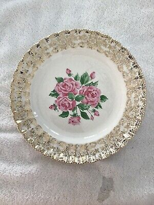 $6.99 • Buy Used Vintage Replacement Plate, Sebring Pottery China Bouquet Pink Roses 9 3/4in