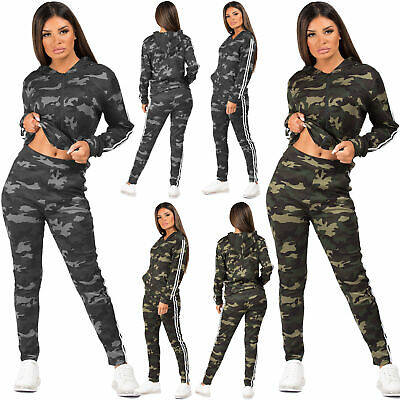 Womens Camouflage Print Tracksuit Side Stripe Top Jacket Lounge Leggings 2Pc Set • 14.99£