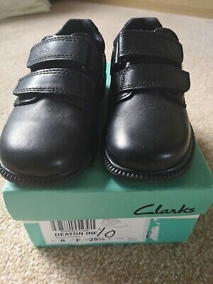 Boys Clarks Deaton Black Leather Inf School Shoes, Brand New Boxed, Size 8F • 18.99£