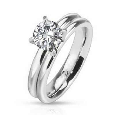 $12 • Buy Women's Prong CZ Solitaire Grooved Dome Band Ring Stainless Steel