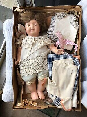 $50 • Buy Antique Composition & Cloth Doll Tin Sleepy Eyes Real Lashes Teeth + 25+Clothes