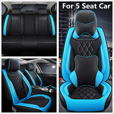 $ CDN179.37 • Buy 5 Seats Car Seat PU Cover Cushion 5D Full Surround Deluxe Edition Blue/Black