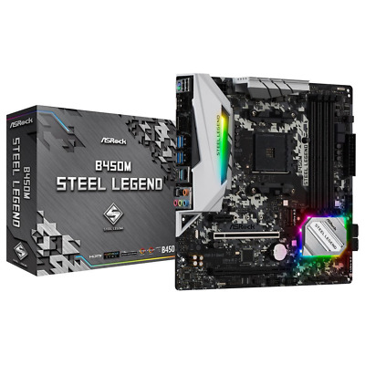AU176 • Buy NEW ASRock B450M Steel Legend AM4 MATX Desktop Motherboard B450M-STEEL-LEGEND