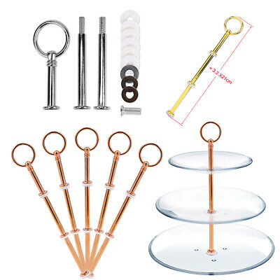 Cupcake Cake Plate Stand Fittings Kit Rods 2/3 Tier Metal Wedding Party 5 Set UK • 11.49£