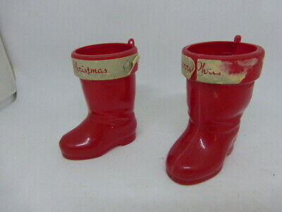 $ CDN16.34 • Buy 2 Vintage Christmas Rosbro Red Boot Candy Containers