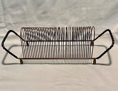$13.90 • Buy VINTAGE METAL WIRE RECORD RACK STAND HOLDER GOLD-TONE HOLDS 40 RECORDS LP's 45's