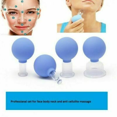 Set Of 4 Cup Glass Cupping Vacuum Massage Anti Cellulite Face Neck Body Suction • 15.69£