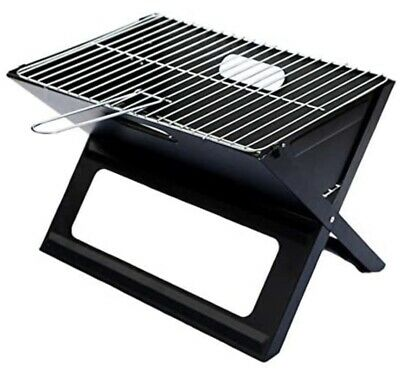 Folding Portable Grill Notebook - Camping BBQ Cooking Chrome Plated (black) • 35£