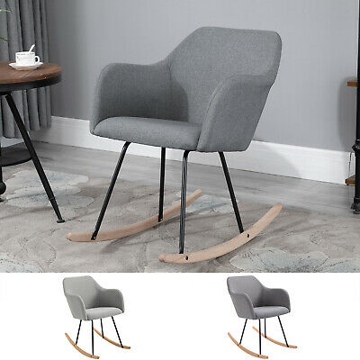 £55.99 • Buy Linen Look Rocking Chair W/ Solid Wood Curved Legs Padded Seat
