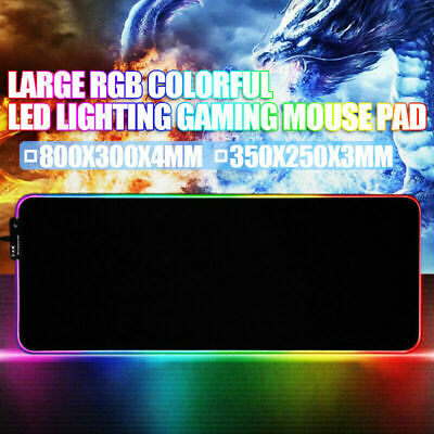 AU25.50 • Buy Large RGB Colorful LED Lighting Gaming Mouse Pad Mat For PC Laptop 300*800*4mm