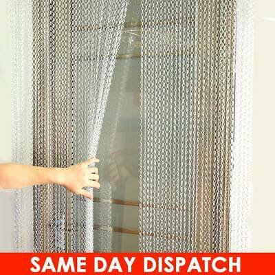 UK Metal Chain Insect Fly Door Curtain Screen Aluminium Pest Control 210x 90CM • 52.21£