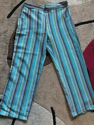 Vintage Ladies Cropped Trousers - Turquoise Stripe, Rockabilly 1950s • 20£