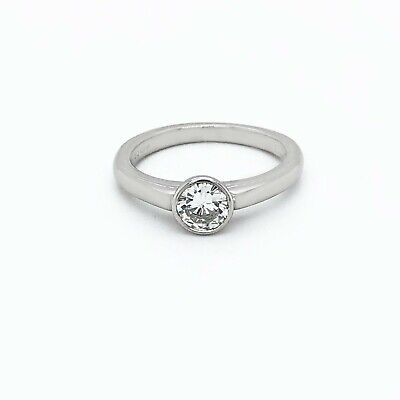 Platinum 0.50 Ct  Rubover Solitaire Diamond Ring UK Certified • 1,450£