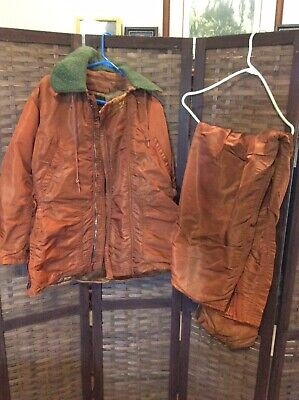 $75 • Buy Vintage USAF Coverall And Jacket Flying Mens Orange  Flight Suit Small/medium