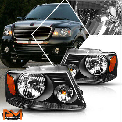 $69.89 • Buy For 04-08 Ford F150 Pickup Black Housing Headlight Amber Side Corner Lamps Pair