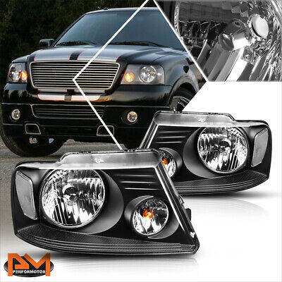 $75.89 • Buy For 04-08 Ford F150 Pickup Black Housing Headlight Clear Side Corner Lamps Pair