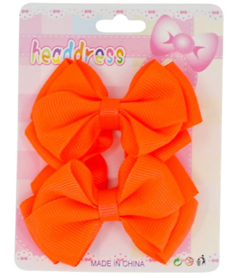 $ CDN4.30 • Buy Ladies Girls Kids 2 Pack 7cm Hair Bows On Clips Neon Green Pink Orange