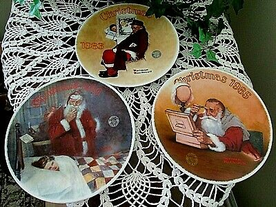 $ CDN12.44 • Buy 3 Lot Vintage Knowles 1986-1983-1985 Christmas Plates Norman Rockwell -mint