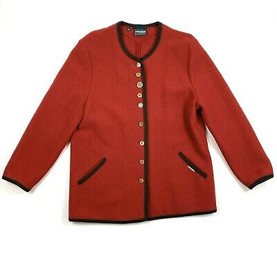 $34.97 • Buy VTG GEIGER Collection Austria Womens 40 Red 100% Pure-Wool Cardigan Jacket EUC